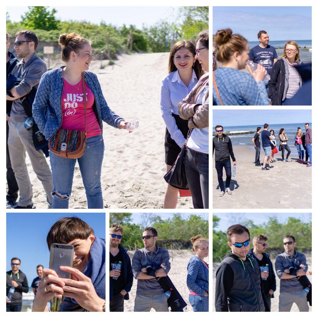 Kolaż pięciu zdjęć zespołu inProjects z kołobrzeskiej plaży