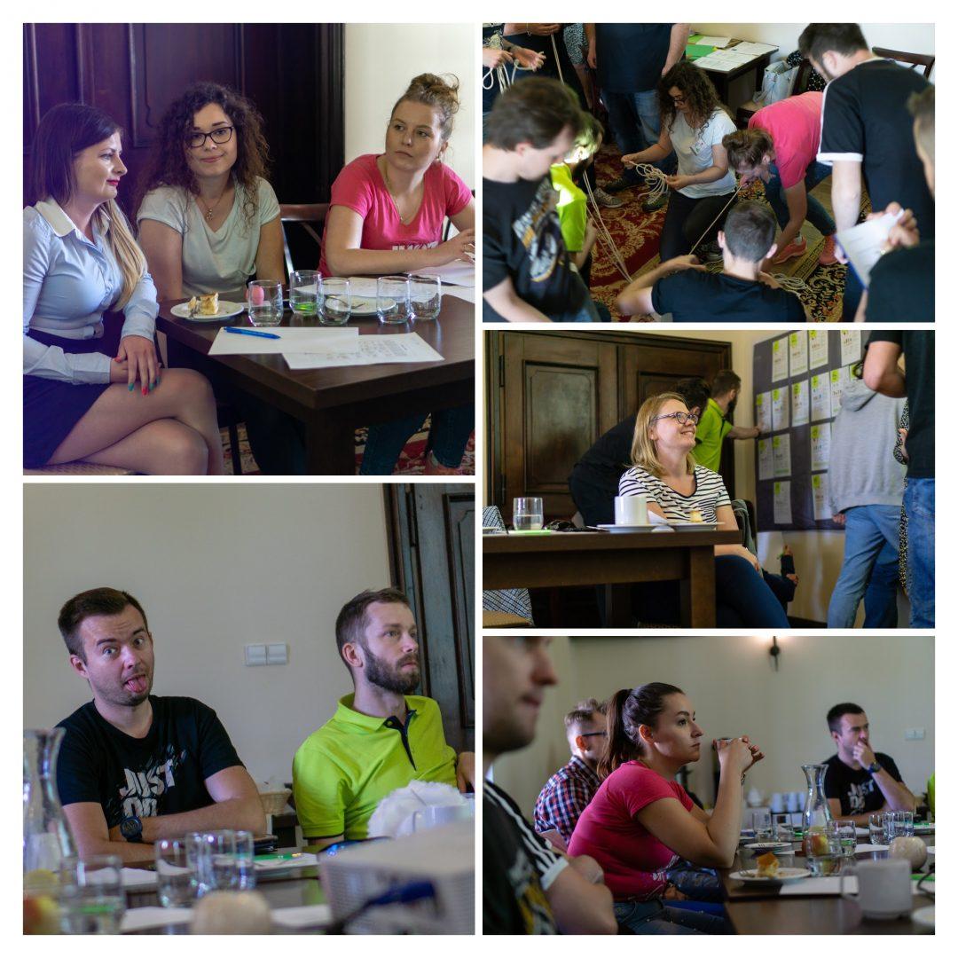 Kolaż pięciu zdjęć zespołu inProjects z warsztatów FRIS