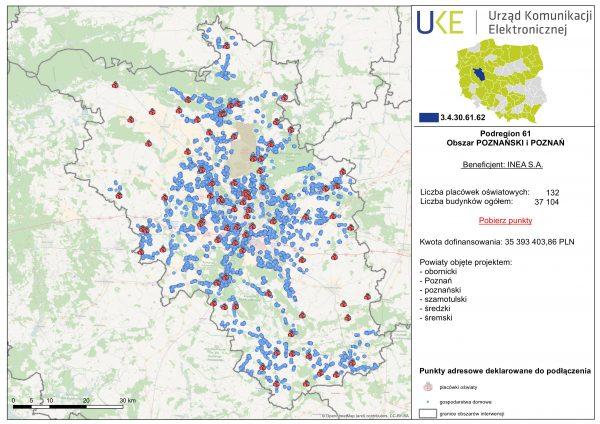Szczegółowa mapa obszaru wygranego przez Inea S.A w 2. konkursie POPC 1.1